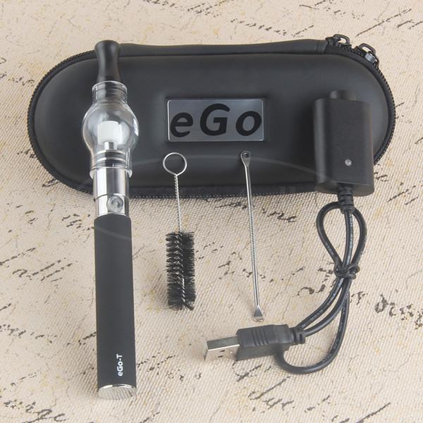 Glass Globe Bulb Dome Atomizer With Ego T Battery E Cigarette Zipper Case Ego Wax Dry Herb Vaporizer Pen Starter Kit Electronic Cigarette