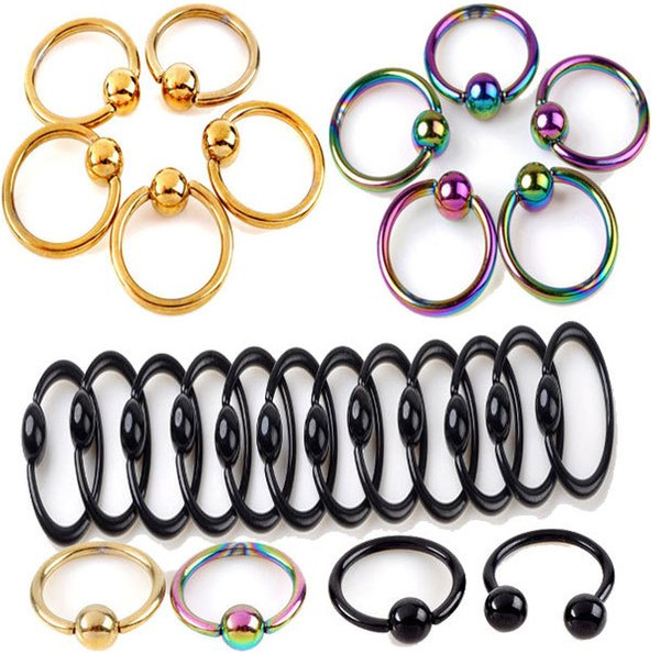 9 Colors stainless steel Nostril Nose Ring Ball Hoop Eyebrow Nipple Nose Lip Earrings Body Piercing Jewelry best quality
