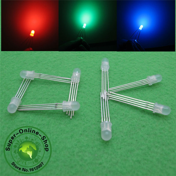Wholesale- 1000 pcs LED 5mm RGB Diffused COMMON Anode Red Green Blue 4Pins Tri Color Emitting Diodes F5mm RGB Diffused anode LEDs LIGHT