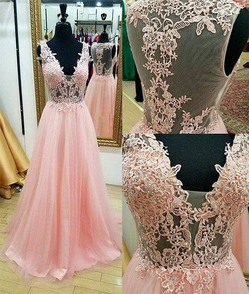 New Style Pink Evening Dress V Neck Lace Crystal Floor Length Tulle Vestidos de Festa See Through Sexy Evening Gowns Long Party Dress 2017