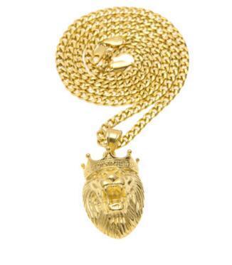 Male king crown lion head pendant hip hop roar lion 14K gold necklace