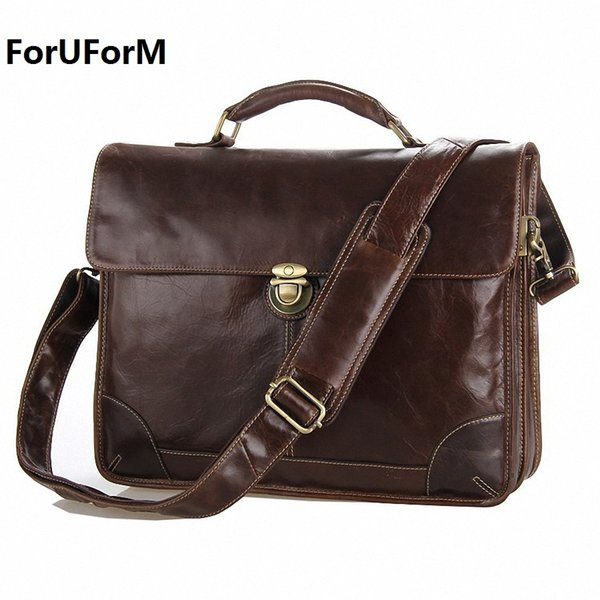 Wholesale- Guaranteed 100% Real genuine Leather Men's Briefcase Laptop Dispatch Travel Tote Bag business bags Factory Wholesale bags LI-664