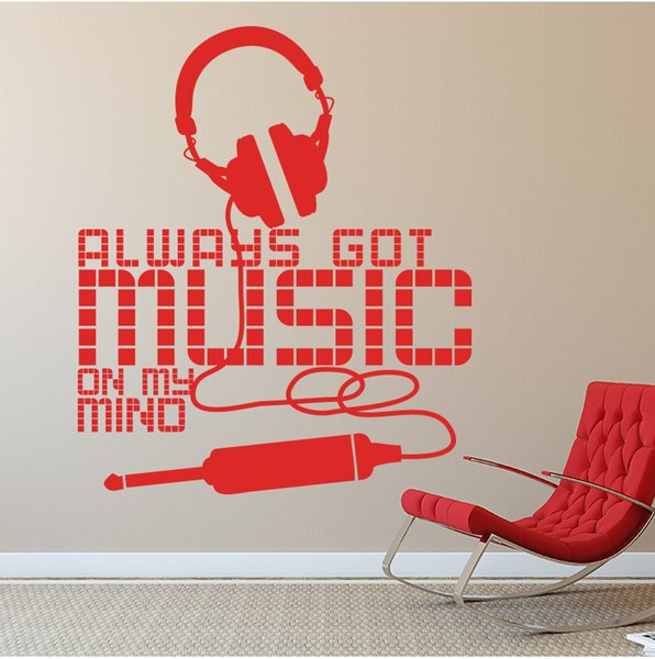 Art New Design Allways Got Music on My Mind Wall Sticker Home Decor Headset Wall  Decal House Decoration Earphone Decal