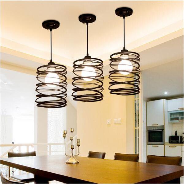 Creative spring pendant lighting vintage lights iron restaurant light E27 tom dixon retro ligitng fixture for coffee bar bedroom