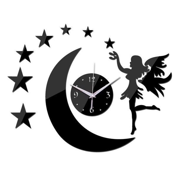 Wholesale- 2016 real hot sale quartz watch wall clock 3d stickers mirror fairy moon decal home decoration decor free shipping living room