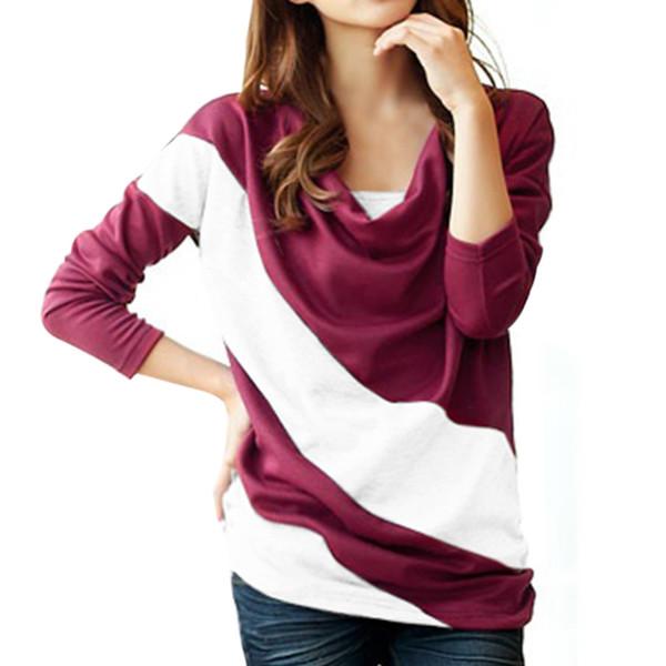 Großhandels- heiße neue Herbst-Frauen-lange Hülsen-Farben-Patchwork gekräuselte Kragen-Kapuzenpullover-Sweatshirt-Büro-Damen nehmen Hemd-Oberseiten Streetwear ab