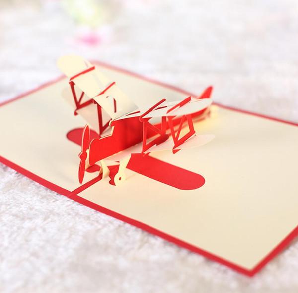 Compre 10 Piezas De Aviones Hechos A Mano Kirigami Origami 3d Pop Up Tarjetas De Felicitación Tarjeta De Invitación Para Boda Regalo De Fiesta De