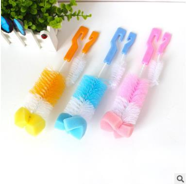 best selling 2pcs set Retail Baby Bottle Brush Sponge Head 360 Degree Rotating Baby Milk Bottle Cup Brush Baby Bottle Cleaning Brush Sets