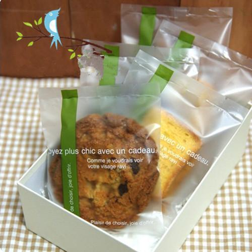 Green ribbon clear plastic cookie biscuit candy bags for bakery food packaging party decoration supplies 10*13.5 cm