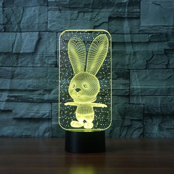 Большие уши кролика Лампы Комната Спальня Декоративные Night Light Multi 7 Изменение цвета USB-кабель Smart Touch Кнопка LED Стол Стол Ки 3D Огни