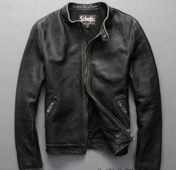 Schotts Classsic Jackets with Stand collar Vintage motorcycle clothing use good quality genuine Calfskin leather outwear coats