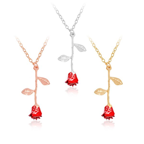 9ede707649a6c Hot sales red rose necklaces earring set beauty and beast necklace earrings  flower pendant chain 3