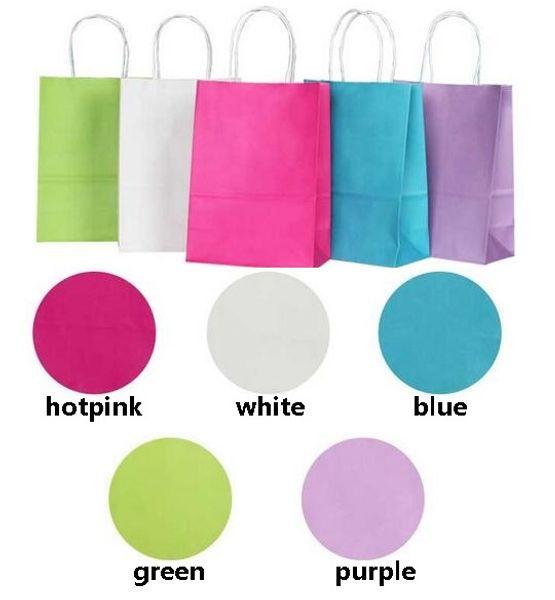 Kolları ile 50 ADET DIY İşlevli yumuşak renk kağıt torba / 21x15x8 cm / Festivali hediye çantası / Yüksek Kaliteli alışveriş çantaları kraft kağıt
