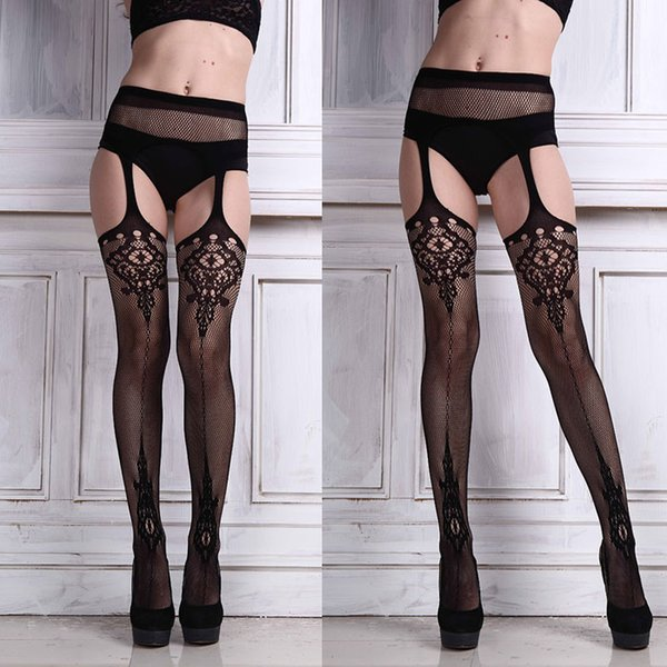 1Pair Sexy Lingerie Lace Garter Belt Set with Fishnet Mesh Thigh High Stockings Pantyhose for Women Free Shipping&Wholesale