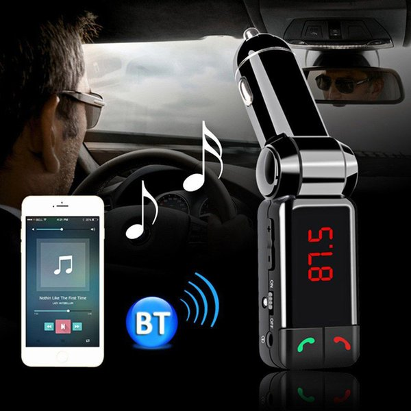 Wholesale-Wireless LED Bluetooth FM Radio Transmitter Universal Handsfree Call Car Kit MP3 Player USB Charging For iPhone Samsung Galaxy
