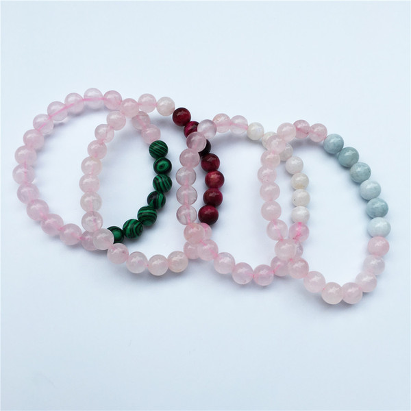 8mm matte rose quartz beads elastic bracelet, malachite beads bracelet,pink tiger ,aquamarine beads moonstone Bracelet,Gifts