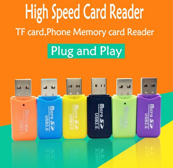 Lector de tarjeta micro SD de 6 colores Micro Adapter para PC Ordenador por interfaz USB Tarjeta de memoria flash SIM TF Lector de teléfono súper rápido de alta velocidad