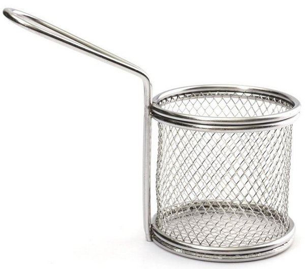 Novelty Kitchen Cooking Tools Mini Stainless Steel French Fries Net Fry Fryer Basket Small Round Net 9x8x7.5cm LLFA