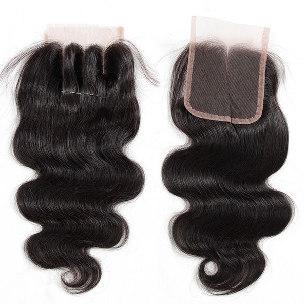 8A Brazilian Virgin Human Hair Lace Closure Straight Body Wave Closures 4x4 Size Free/Middle/3 Way Part Brazilian Lace Closure Natural Color