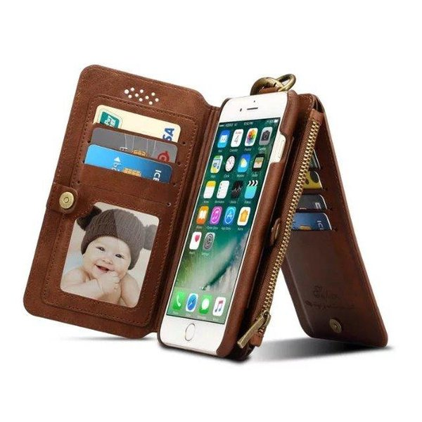 Retro Case For iPhone 7 7Plus Folded Metal Zipper Hybrid Removable 18 Card Slots Wallet Cover For iPhone 7 7Plus