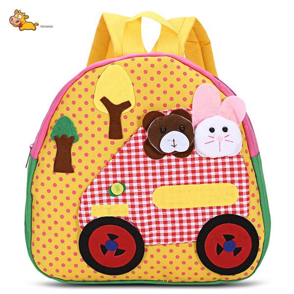 TongChang Geometric Bear Dot Animal Prints Character Kindergarten Child Character Cotton Fabric Canvas Zipper School Bag