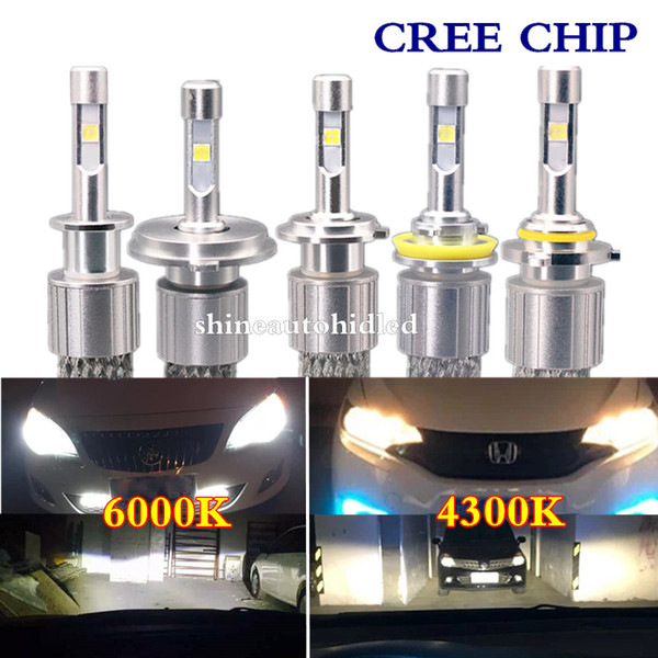 top popular 1set 104W 12000LM H1 H3 H4 H7 H8 H9 H10 H11 9005 9006 9012 CREE LED Headlight 4300k 6000k White light Replace Halogen xenon bulbs 2021