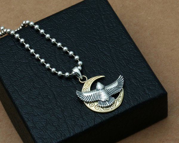 Brand new 925 sterling silver jewelry vintage style necklace pendant eagle and moon for men and women free shipping wholesale customized