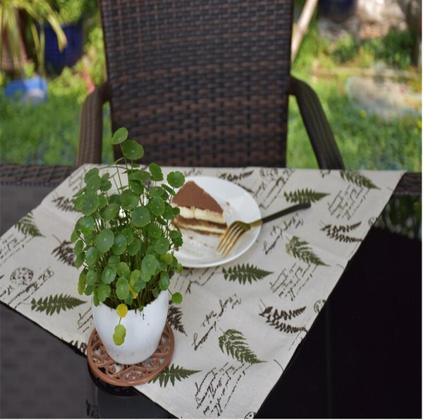 country tree style creative washable non slip heat insulation table mats cotton linen fabric pattern - Kitchen Table Mats