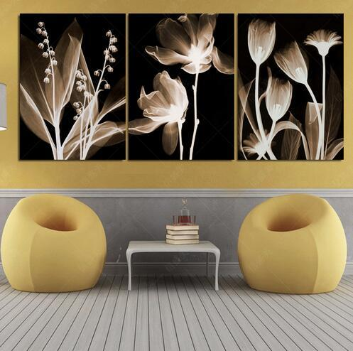 3 Panel Canvas Painting Decoracion Modular Imagen Quadro Mural Wall Pictures For Living Room HD Print Flowers Pintura
