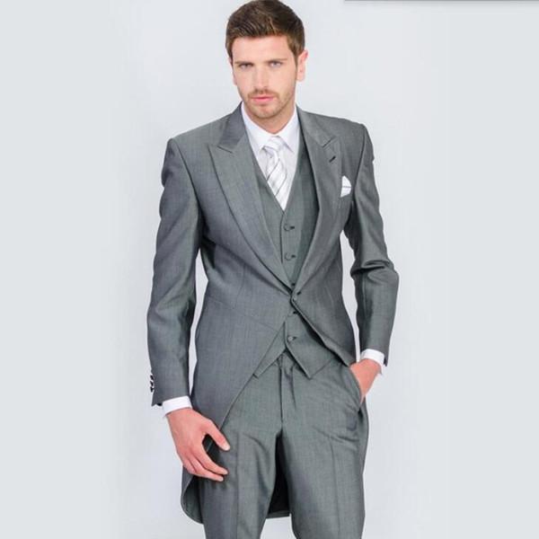 Fashion Leisure Suit Perfect Male Suits Peaked Lapel one Button Gray Groomsman tailcoat Wedding men Suits(Jacket+Pants+vest)