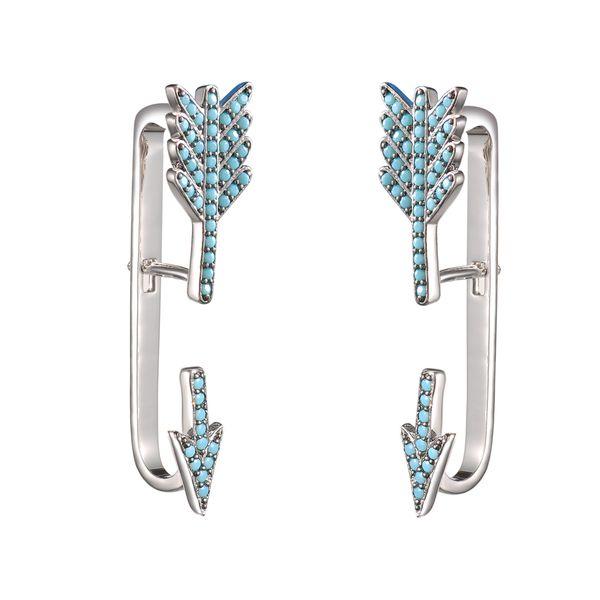 KIVN Fashion Jewelry Pave CZ Cubic Zirconia Turquoise Arrow Ear Cuff Ear Crawler Climber Earring Jackets