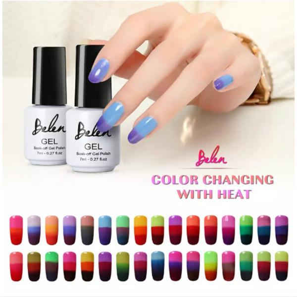 Belen 10pcs Cambio de temperatura Color UV Gel Larga duración Manicura Soak-off laca Pegamento de uñas Esmalte de uñas Dedo Art Set Base Top