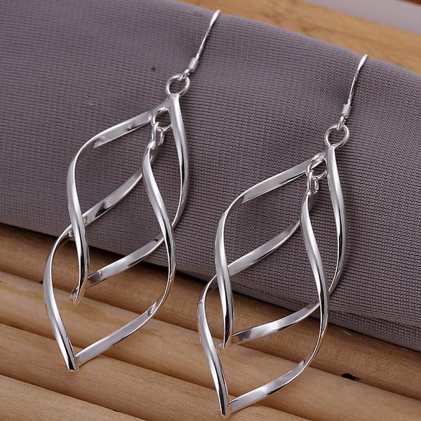 wedding Double banana-shaped sterling silver plate jewelry earring for women WE168,fashion 925 silver eaarings 10 pairs a lot
