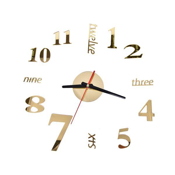 best selling Wholesale- clocks Quartz fashion watches 3d real big wall clock rushed mirror sticker diy living room decor