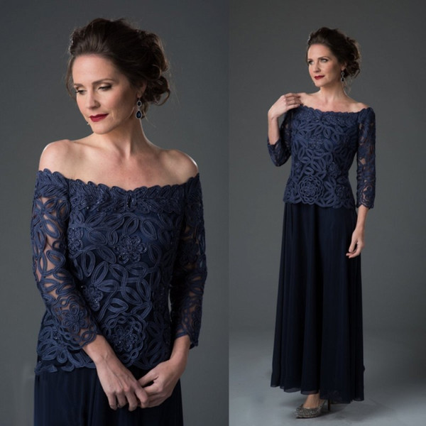 Navy Blue 3/4 Long Sleeve Mother The Bride Dress Off Shoulder Applique Tea Length Plus Size Wedding Guest Dress Evening Gown Mother's Cloth