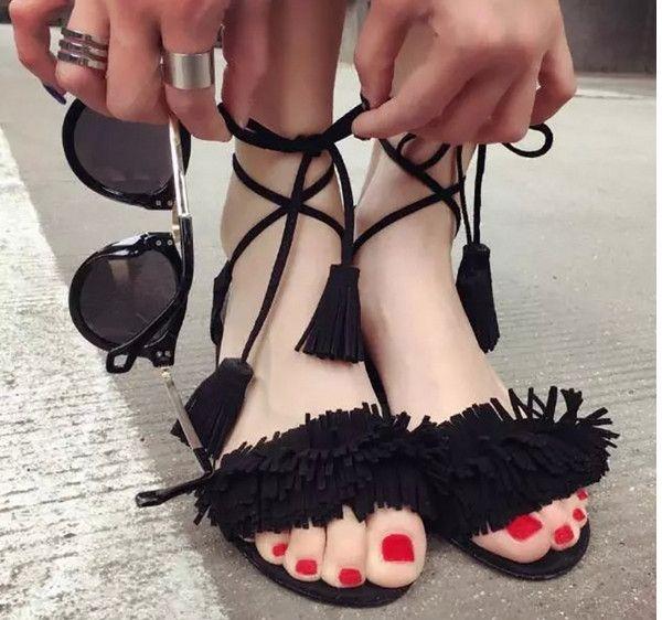 fe48225e Verano Mujer Moda tacones sandalias Señoras Sexy borla Sandalias romanas  Niñas Peep-toe correa para