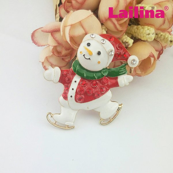 Christmas Jewelry Crystal Rhinestone Snowman Ice Skating Brooch Pin