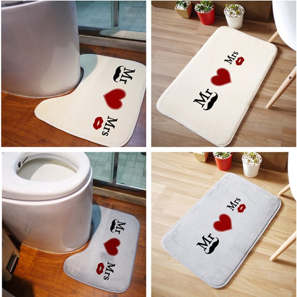 Wholesale- 2PCS Bathroom Mats Set Rug Kit Toilet Pattern Bath Non-slip Floor Carpet Mattress for Bathroom Decor