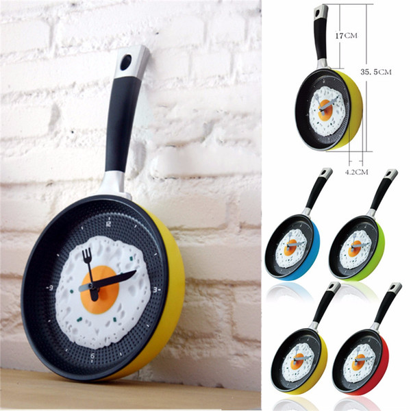 top popular Wholesale- Plastic Fried Egg Frying Pan Kitchen Novelty Wall Clock Gift Cafe Clock Fork Knife Hands Wall Clocks Durable 2020