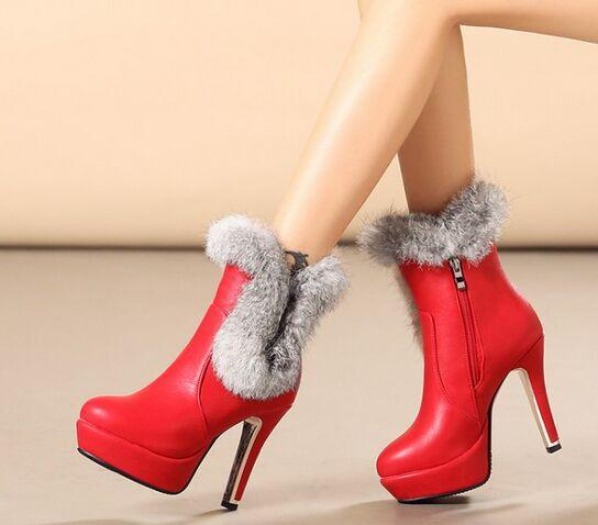 Wholesale New Arrival Hot Sale Specials Super Influx Rabbit Hair Warm Winter Knight Plush Large Size Sweety Red Wedding Ankle Boots EU30-44