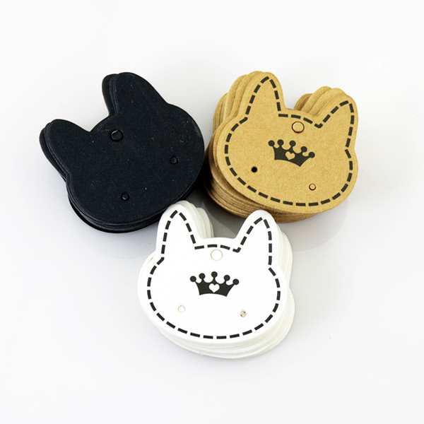 best selling Wholesale 500pcs lot Fashion Jewelry Display Packing Card ,Cute Cat Shape Paper Card Fit For Earring Packing Free Shipping