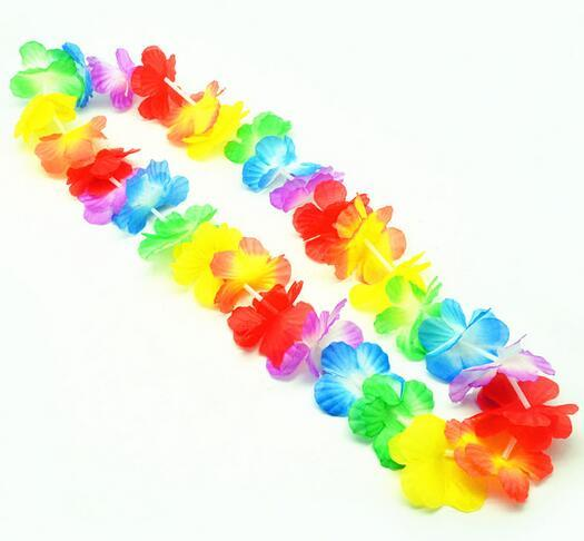 200pcs Hawaiian leis Party Supplies Garland Necklace Colorful Fancy Dress Party Hawaii Beach Fun