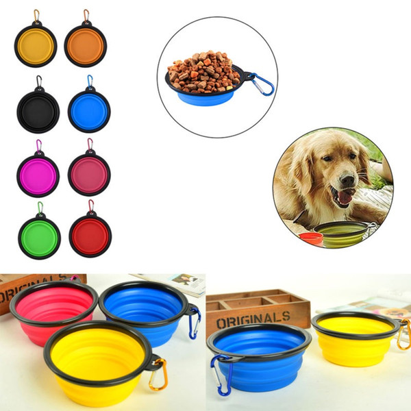 top popular Portable Collapsible Pet Dog Cat Feeding Bowls with buckle Compact Outdoor Travel Silicone Feeder wholesale free shipping 2021