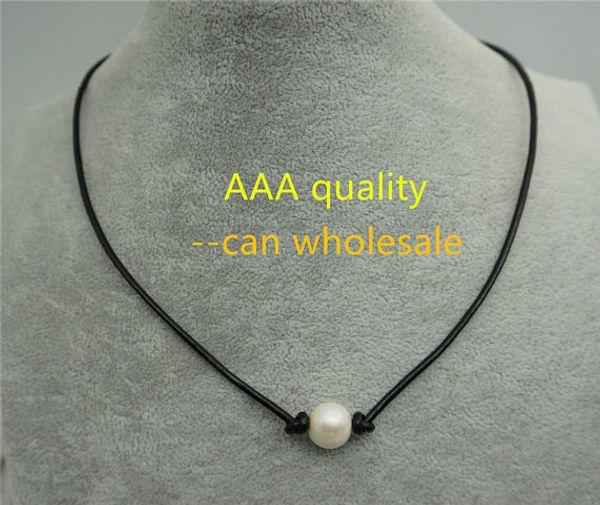 JLN High Lustre Single PC Of White Cultured Freshwater Pearl Leather Choker Collar Collar Hecho a mano de perlas de agua dulce Joyas