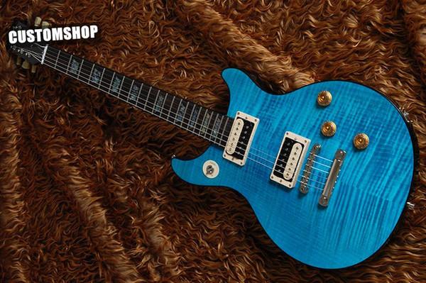 Custom Tak Matsumoto Doublecut Flame Maple Top Standard Aqua Blue Electic Guitarra Abalone Block Diapasón Inlay Negro Body Binding