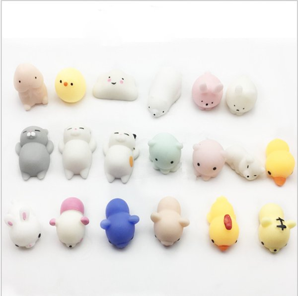 Soft Squishy Silicone Cat Toys Cartoon Cute Pattern Sticker Panda Seal Polar Bear Rabbit Stretchy Squeeze For iphone 7 Samsung Phone Case