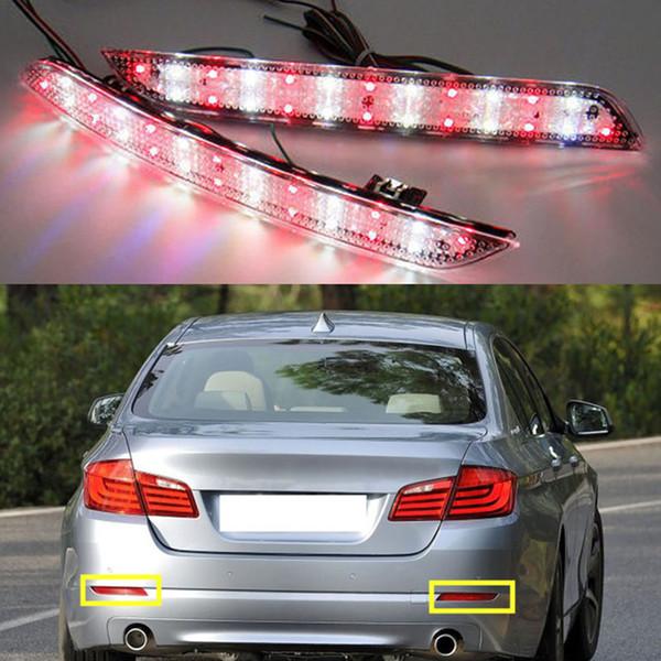 12V 2pcs Rear Bumper Reflect Warning LED Light Brake Stop Light Added Tail Lamp For 2011-up BMW 5 Series F10/F18 528i 535i 550i