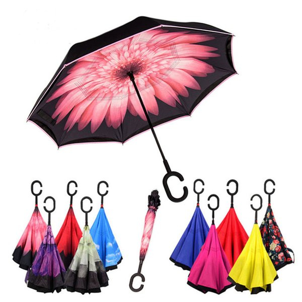 top popular 80 colors Windproof Reverse Folding Double Layer Inverted Umbrella Self Stand Inside Out Rain Protection C Hook Hands For Car 2019