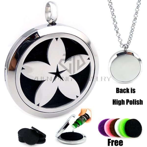 New Round Silver Cherry blossoms (30mm) Aromatherapy / Essential Oils Diffuser Locket Pendant Necklace with Colorful Pads and Chain