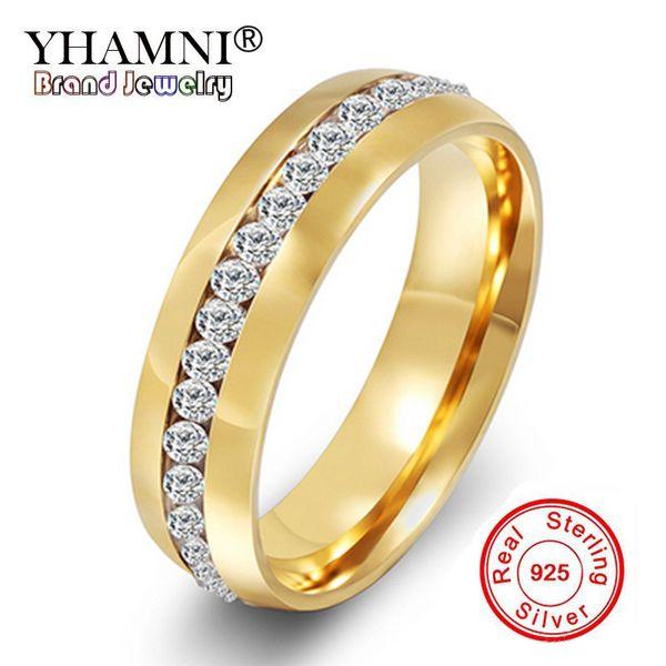 Promotion! YHAMNI Nouvelle Mode 24K Or Rempli CZ Diamant Zircon Bagues De Fiançailles De Mariage Pour Hommes et Femmes RING R-005S